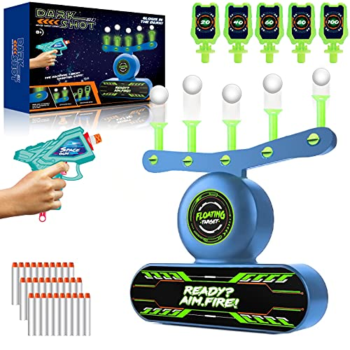 Electric Target for Nerf Guns, Luminous Floating Ball Target with Toy Gun, 30 Foam Bullet and 5 Flip Target, Glow in the Dark & USB Rechargeable, Kids Shooting Game Gift for Boys Girls 6 to 13 Years