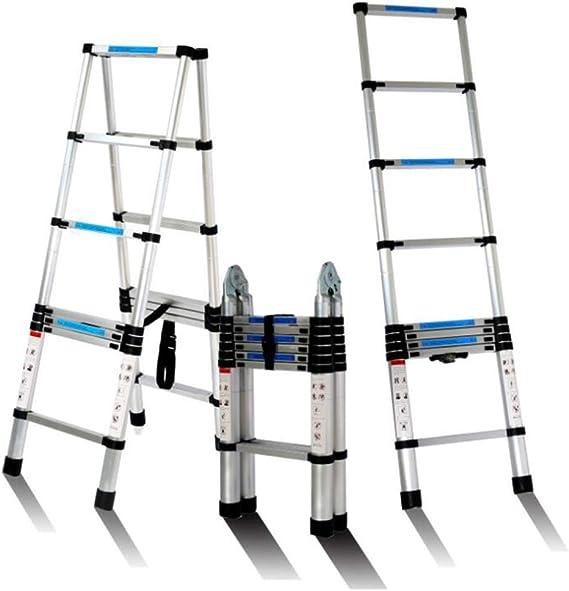 ALYR Aluminio Escalera Telescópica, Multiusos Escalera Extensible 6/8/10/12 peldaños Portátil Escalera con estabilizador Capacidad de Carga 150kg / 330lb,3.8m/12.5ft: Amazon.es: Hogar