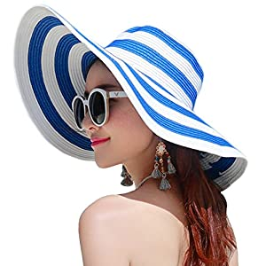 Itopfox Women's Beachwear Sun Hat Striped Straw Hat Floppy Big Brim Hat JBU