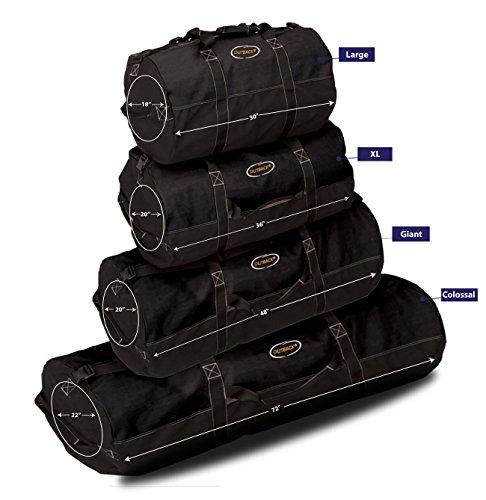 Ledmark Super Tough Heavyweight Cotton Canvas Duffle Bag, Black, Size XL, 36'' x 20'' by Ledmark (Image #2)