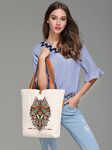 So'each Women's Animal Ethnic Style Wolf Top Handle Canvas Tote Shoulder Bag