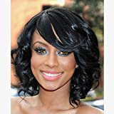 Jet Black Synthetic Hair Wig Short Curly Wigs with Side Bangs Heat Resistant Fiber Full Wigs for Woman offers