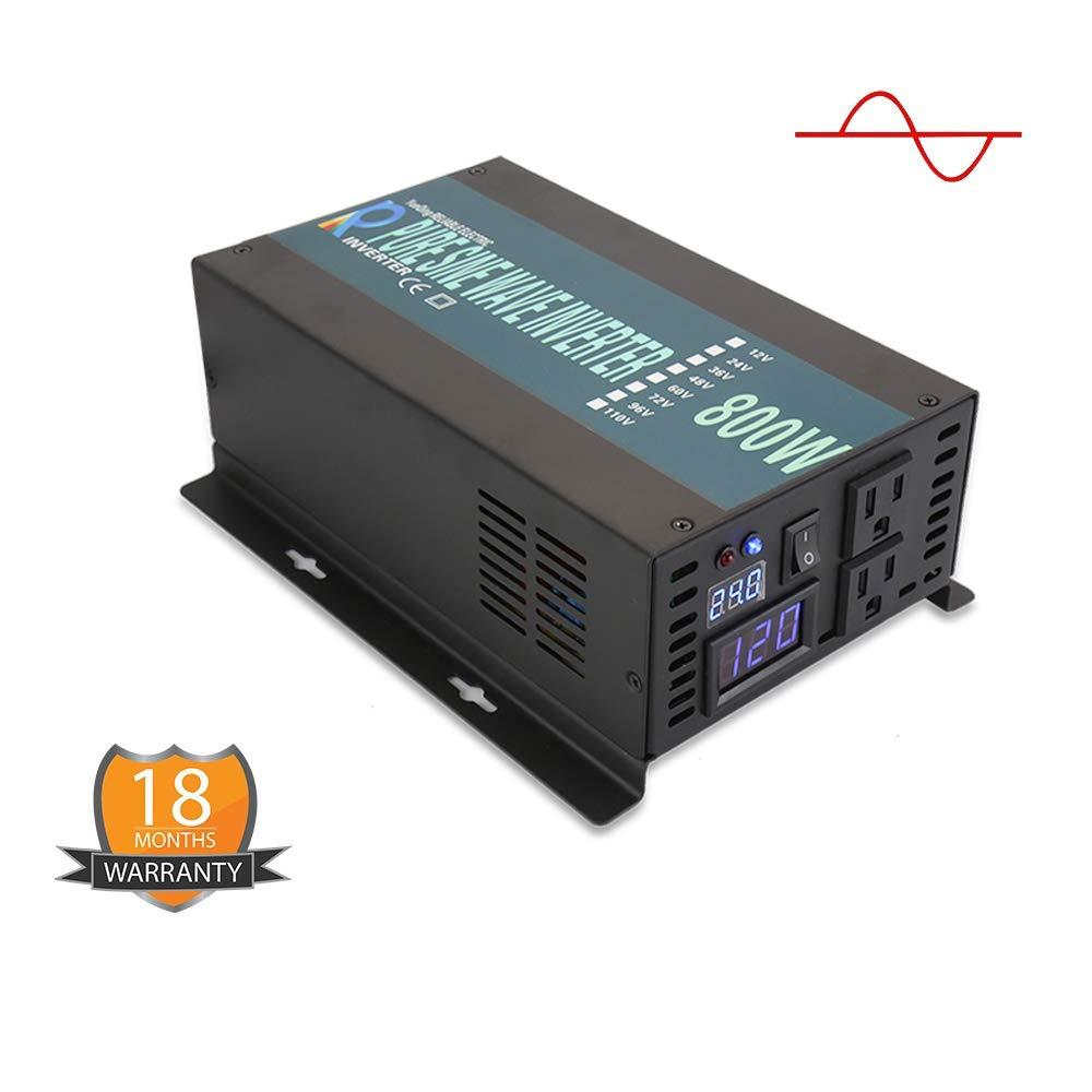 WZRELB Backup Power Off Grid Pure Sine Wave Inverter 800W 24Vdc to 120Vac 60Hz USA Outlets Power Converter, (RBP80024B1)