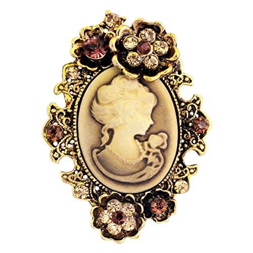 Ever Cute Cameo Brooches Women Vintage Rhinestone Flower Breastpin for Banquet Vest-Antique Gold