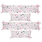 Bedtime-Originals-Blossom-PinkGray-Watercolor-Floral-4-Piece-Crib-Bumper
