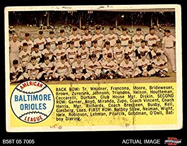 Amazoncom 1958 Topps 408 Num Orioles Team Checklist Baltimore