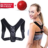 Posture Corrector for Women & Men - Best Adjustable Back Brace for Slouching, Neck Pain Relief + Spiky Massage Ball