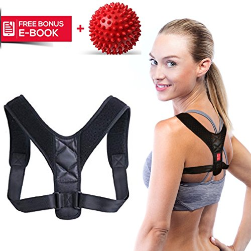 Posture Corrector for Women & Men - Best Adjustable Back Brace for Slouching, Neck Pain Relief + Spiky Massage Ball by Magdel