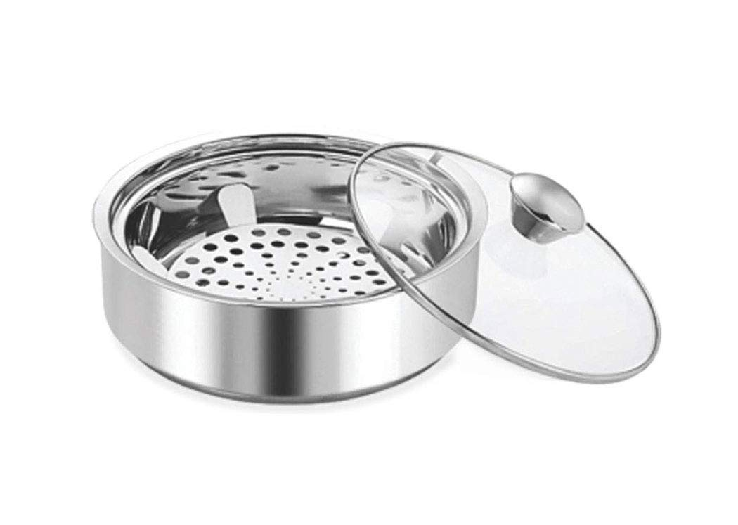 Transparent Stainless Steel Serving Pot,Stainless Steel Insulated Chapati Small Casserole,Chapati Storage Box,Roti Storage box,Chapati Dabba,Silver