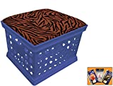 Blue Utility Crate Storage Container Ottoman Bench Stool for Office/Home/School/Preschool with Your Choice of a Colorful Zebra Pattern Fleece and a FREE Nightlight! (Rust)