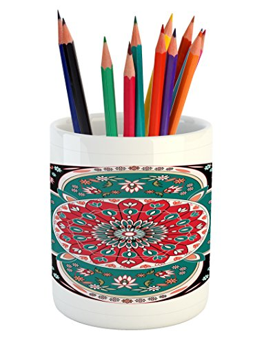 Ambesonne Arabian Pencil Pen Holder, Oriental Ornate Embriodery Style Floral Ethnic Illustration of Old Eastern Artistic, Printed Ceramic Pencil Pen Holder for Desk Office Accessory, Multicolor by Ambesonne