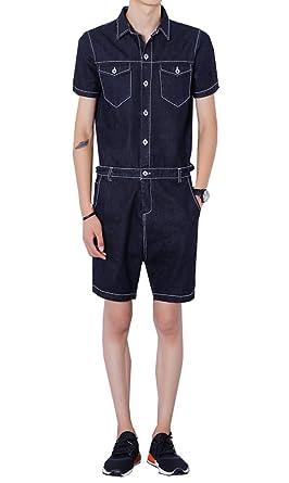 b32c2e16ad19 LifeShe Men Denim Jumpsuits Jeans Short Sleeve overallsCargo Pants  (X-small