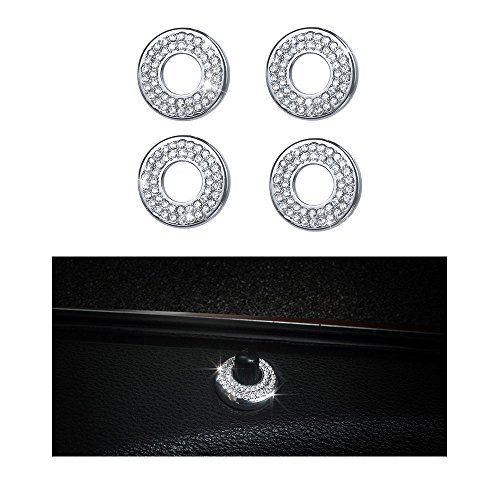 (1797 Mercedes Accessories Benz Parts Trim Inner Door Lock Pins Covers Caps Decals Stickers Interior Visors Decorations W204 W205 W213 X204 X253 C E Class GLC AMG Women Men Bling Crystal 3M Silver)