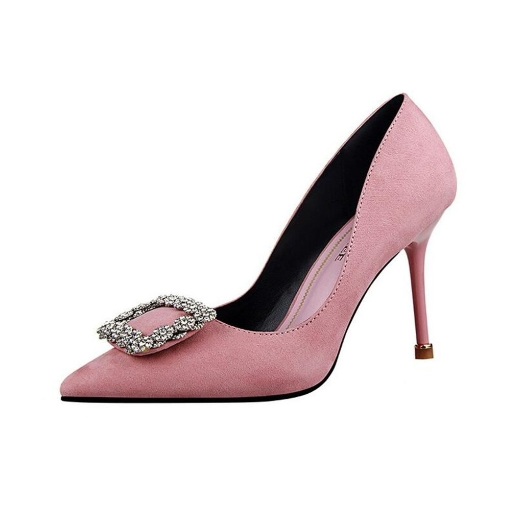 Sandales CJC Talons Talons Profonde Hauts Baotou Talons Hauts Mince Taille Talons Hauts Fashion Rhinestone Simple Sexy Bouche Peu Profonde (Couleur : Rose, Taille : EU35/UK3) Rose 79adf4a - shopssong.space