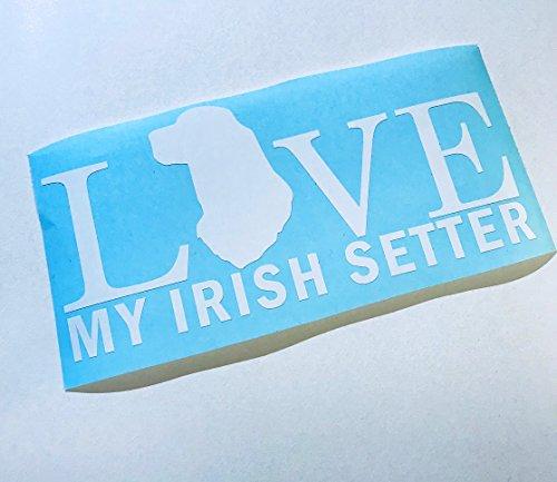 (Love My Irish Setter Rectangle White Vinyl Dog Lover Decal)