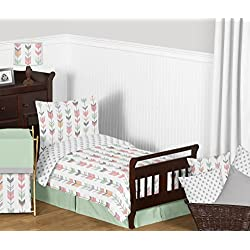 Grey, Coral and Mint Woodland Arrow Print Girls 5 Piece Toddler Bedding Comforter Sheet Set