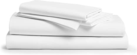 Amazon Com 600 Thread Count Best 100 Cotton Sheets Pillowcases Set 4 Pc Pure White Long Staple Combed Cotton Bedding Queen Sheet For Bed Fits Mattress Upto 18 Deep Pocket Soft Silky Sateen