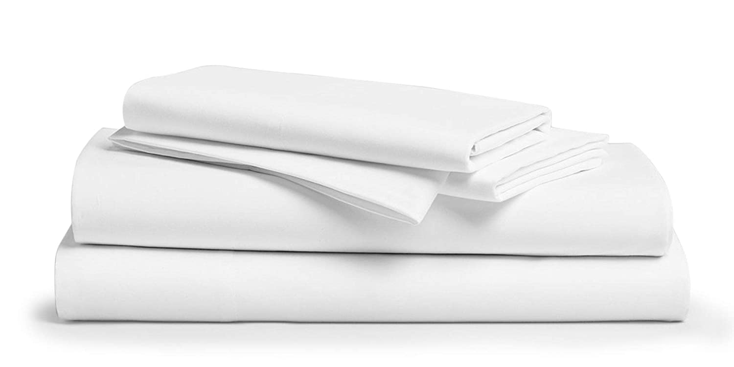 Comfy Sheets Ultra Luxury 100% Egyptian Cotton Sheet Set - 1000 Thread Count 4 Pc King White Bed Sheets for Bed with Pillowcases, Premium Hotel Quality Bedding Fits Mattress Up to 18'' Deep Pocket