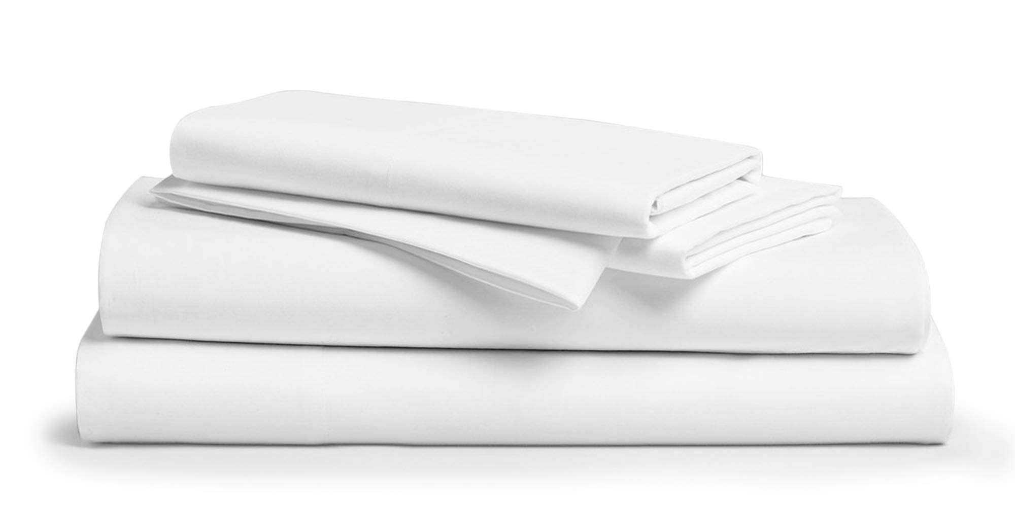 1000 Thread Count Luxury Soft 100% Cotton Sateen Bedding King Top Sheet, Cool and Hypoallergenic (King, White)
