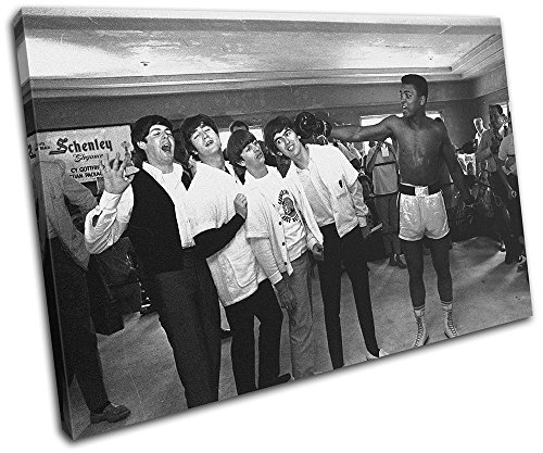 Bold Bloc Design - Muhammad Ali Boxing Beatles Sports 60x40cm SINGLE Canvas Art Print Box Framed Picture Wall Hanging - Hand Made In The UK - Framed And Ready To ()