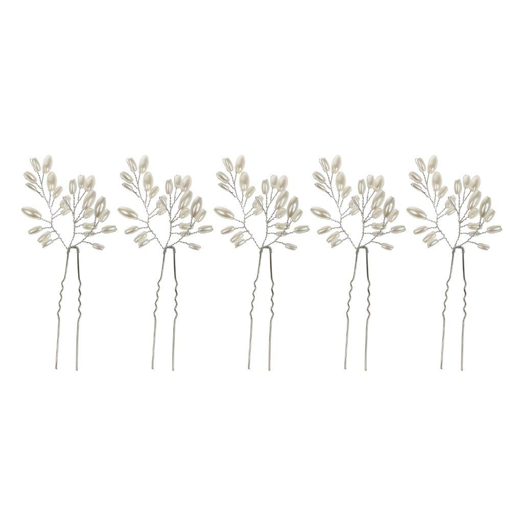 3 Pin Horquilla Accesorios De Diseño De Joyas Pelo De La Perla De Plata De Novia Tocado Generic STK0156005457