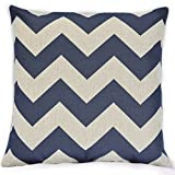 TAOSON Vintage Linen Cotton Chevron Zig Zag Pattern Home Decorative Throw Pillow Case Cushion Cover Only Cover No Insert-25x25 Inch 65x65cm Navy Blue