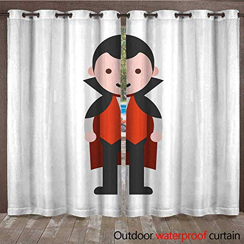 RenteriaDecor Outdoor Curtains for Patio Sheer dracular Children in Halloween Costume Flat Design W72 x L108]()