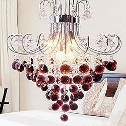 WEIWEI Wei-d New LED European Crystal Chandelier Restaurant Living Room Bedroom Chandelier Warm Liquor Red Purple Crystal Chandelier, 50cm
