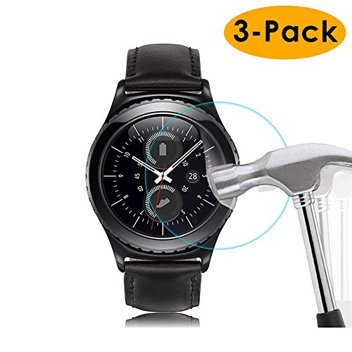 KIMILAR [3 Pack] Compatible Samsung Gear Sport / Gear S2 Screen Protector, Tempered Glass Screen Protector Compatible Gear Sport / Gear S2 smartwatch [9H Hardness] [No-Bubble] [Crystal]