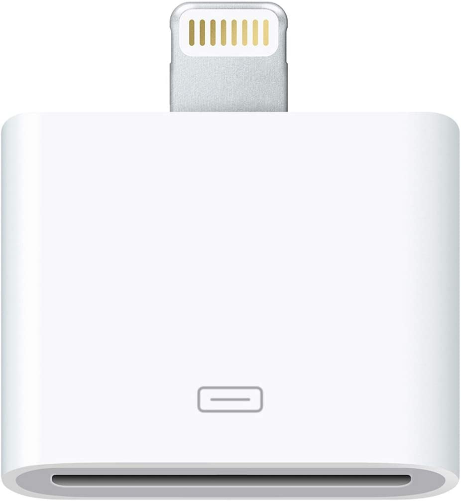 Lightning to 30 Pin Adapter Charging Sync Connector 8 Pin Male to 30 Pin Female Adapter for Select iPhone, iPad and iPod Models (White)