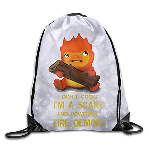 [PTCY Studio Ghibli Howl Moving Castle Backpack Gymsack Sport Bag White] (Miley Cyrus Disney Costume)