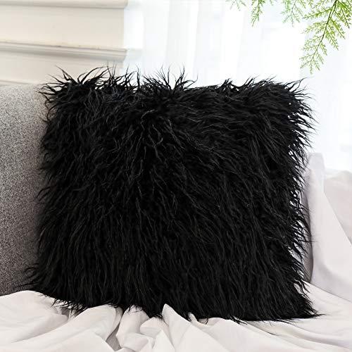 Dikoaina Mongolian Faux Fur Pillow Cover Cushion Case Natural Color (Black Fur Pillow)