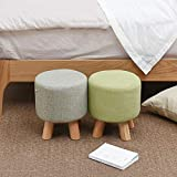 Round Footstool Padded Wood Small Osman Change Shoe Stool Detachable Linen Cover Gray Bearing Weight 200kg (28cmx25cm)