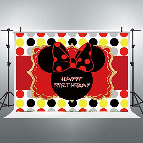 Riyidecor Mouse Backdrop Free Banners Happy Birthday Red Black Girls Celebration Colorful Dots 7x5ft Photography Background Children Decorations Festival Event Props Party Photo Shoot Vinyl Cloth -