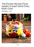 Pioneer Woman Dutch Oven 2 Piece Set of 6.5-Quart and 4-Quart Floral Garden, Multi Color