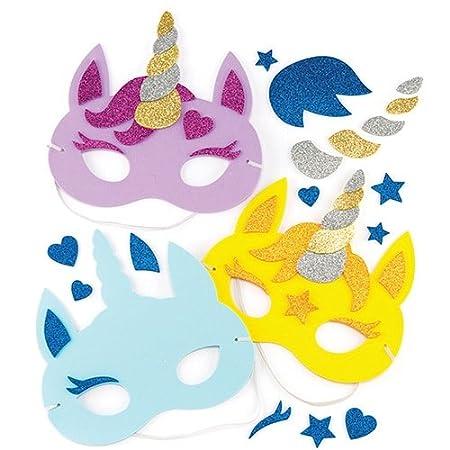 Baker Ross- Kits de caretas de Unicornio (Pack de 4) Que los niños Pueden diseñar y Decorar - Juego de Manualidades Infantiles Creativas