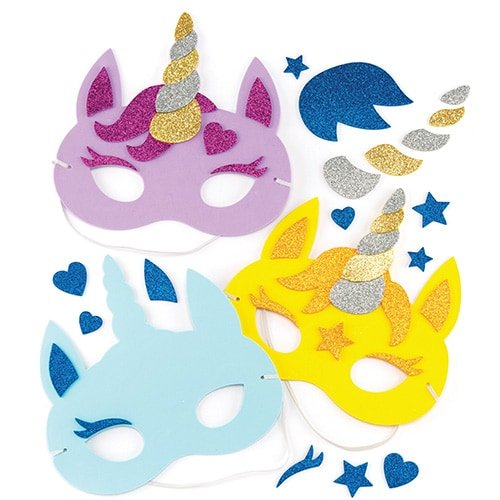 Baker Ross Unicorn Foam Mask Kits - Ideal Craft for Kids to Make and Wear as an Accessory for Halloween Costumes, Fancy Dress, Parties and More (Pack of