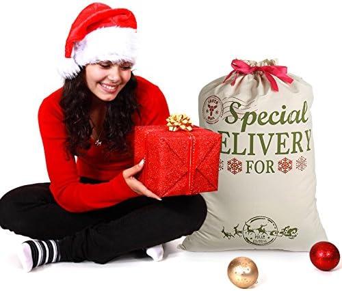 2020 NEW White Xmas Santa Party Gift Drawstring Packing Stocking Bags X10 X50