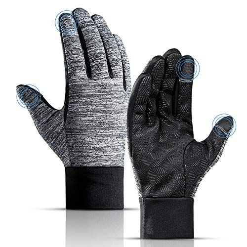 Lzfitpot Winter Warm Gloves, Anti Slip Touch Screen Gloves Windproof Thermal Gloves Cold Weather Cycling Gloves Black…