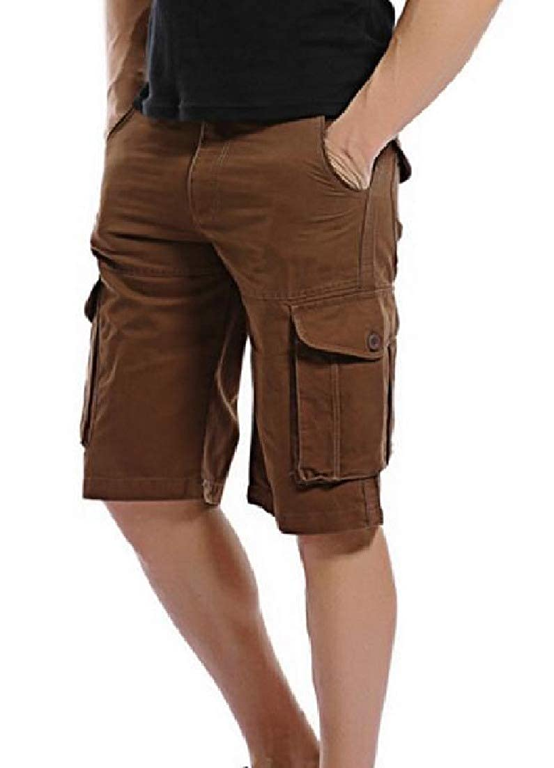 Zimaes-Men Casual Pockets 1//2 Length Pure Standard-fit Cargo Pants Short Pant