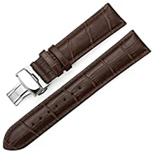 iStrap 22mm Croco Calf Leather Replacement Watch Band Strap w/ Push Button Deployment Clasp Brown
