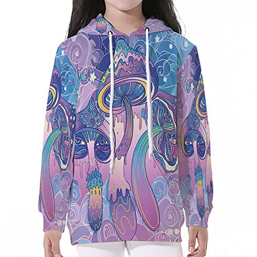 - Baby SweatshirtPullover Hooded,Mushroom,Trippy Drawing Hippie Decor Sixties Visi
