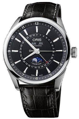 Oris 91576434054LS Oris Artelier Complication Black Dial Automatic Black Leather Mens