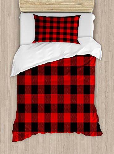 Ambesonne Plaid Duvet Cover Set Twin Size, Lumberjack Fashion Buffalo Style Checks Pattern Retro Style with Grid Composition, Decorative 2 Piece Bedding Set with 1 Pillow Sham, Scarlet Black -