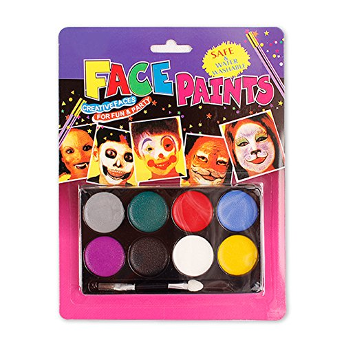 Boieo Face Paint Kit for Kids 8 Colors Body Paint Party Palette Face Painting Kits for Parties, Birthday, Easter, Halloween and Any (How To Do Cat Makeup For Halloween)