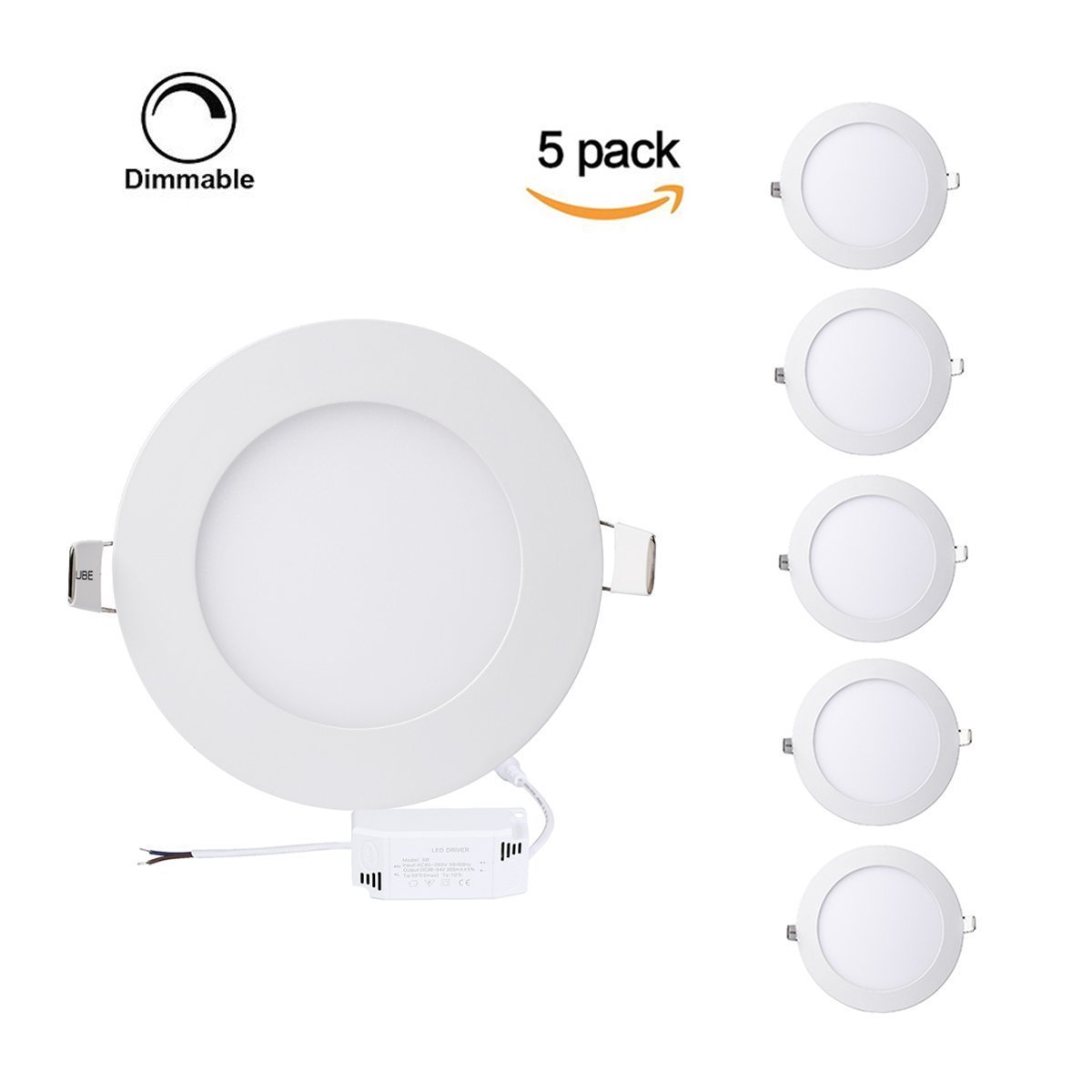 Pack of 5 Units Dimmable Round LED Panel Light,Ultra-thin Recessed Ceiling Light,Round led Flat panel light Downlight with 120V Isolation Driver for Home, Office, Commercial Lighting (9W, 5000K)