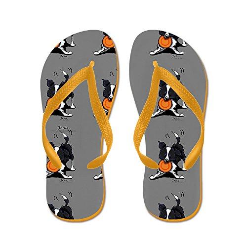 CafePress Lotsa Border Collies Grey - Flip Flops, Funny Thong Sandals, Beach Sandals Orange