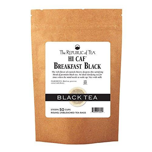 The Republic Of Tea HiCAF Breakfast Black Tea, 50 Tea Bags, Roasted Chicory High-Caffeine Gourmet Blend