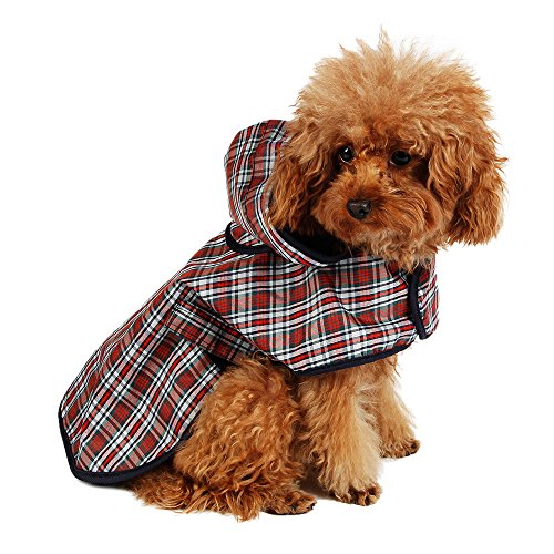 Speedy Pet Dog Rain Poncho Coat Jacket Puppy Waterproof Coat Dog Plaid Raincoat Outdoor Apparel Clothes -