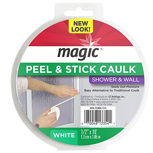 "Magic Shower and Wall Peel & Caulk Strip - Create a Tight Seal Between the Bathtub and Wall to Keep Moisture Out - 1/2"" by 10' - White"
